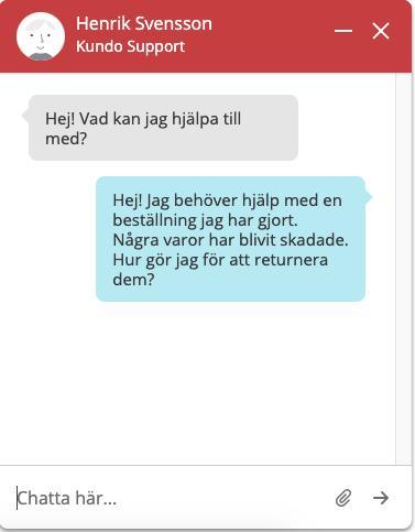 Kundo Chat (Slutanvändare) - Frågan kommer med in i chatten